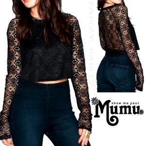 Show Me Your Mumu Crop Top Cher lava lace XS black